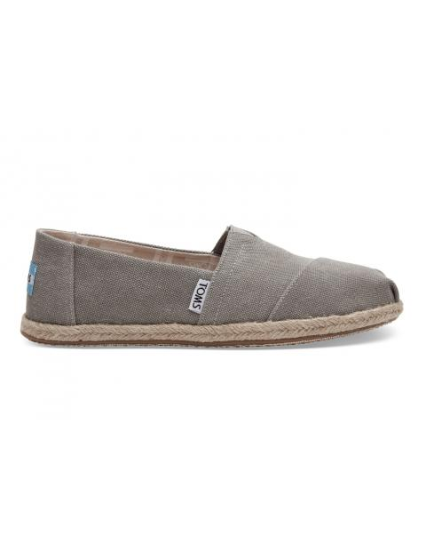 Toms Classic Drizzle Grey Washed Canvas Rope Sole