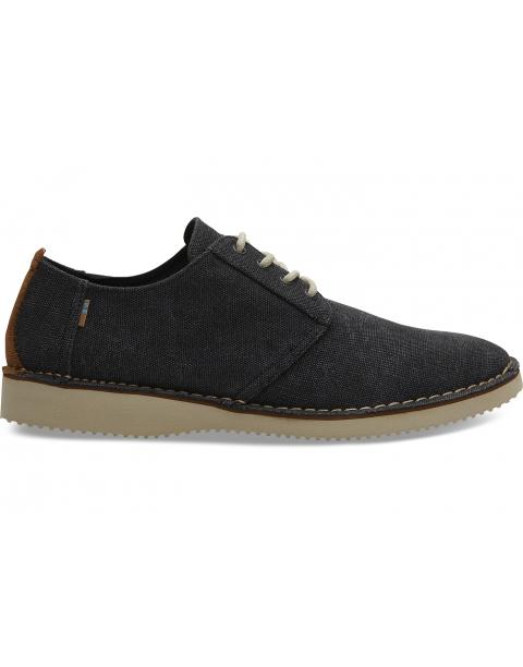 Black Washed Canvas Stitch Out Mens Preston Dress Shoes 10013282